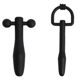 Wholesale urethral sound hole - 2pcs set Silicone Cum-Thr and Shoot-thru D-ring Penis Plug Tube Urethral Stretcher Catheter Dilator Through Hole,Black