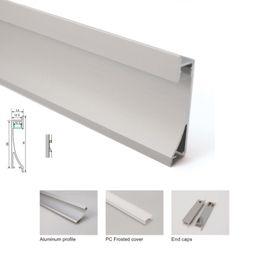 Montaggio a strisce guidato online-10 X 1M set / lotto Al6063 led strip montaggio canale in alluminio e alloggiamento profilo led argento anodizzato per applique da incasso a parete