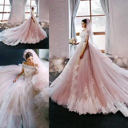 Wholesale Cathedral Train Princess Wedding Dresses - 2017 New Blush Elegant Princess A-Line Wedding Dresses Off Shoulders Cap Sleeves Lace Appliques Luxury Bridal Gowns with Court Train