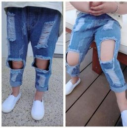 Wholesale Hole Jeans Kids - New kids jeans children trousers girl hole jeans summer autumn pants blue color girl ripped jeans