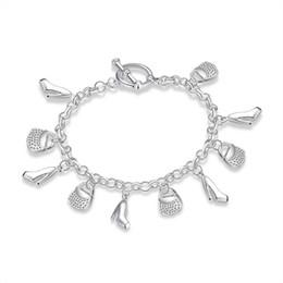 Wholesale Silver Tone Pendant Setting - Women's Silver Tone Charm Bracelet Purse and Shoes Pendant Bracelets Fashion Silver Plated Jewelry Women Lady Girls Christmas Gifts