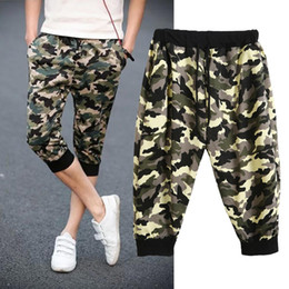 Wholesale Mens Cropped Pants Trousers - Wholesale-Sports Mens basketball Cropped Camouflage Drawstring Beach Trousers Shorts homme short Pants Casual Gym Wear running shorts Y3