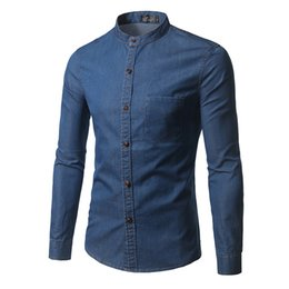 Wholesale Winter Shirts Men - 2017 Fashion Brand Men Business demin Shirt Men Long Sleeves Casual Style Mens Shirts Clothing For Autum Winter large Size