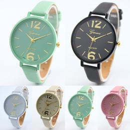 Wholesale Clock Geneva - 2016 Fashion Geneva Men Wristwatch Leather Casual Watch Analog Quartz Watch luxury Women Dress Watch ladies Relojes Clock