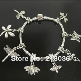 Wholesale Dragonfly Butterfly Jewelry - 10pcs Tibetan Silver Dragonfly BEE Butterfly Charms Dangle Beads European Bracelet DIY Metal Jewelry M1092