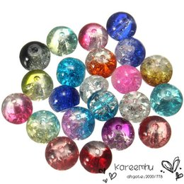 Wholesale Mixed Glass Pearl Beads 8mm - 2016 Hot Sale Top for Nail Foil Wholesale 80pcs Mixed Color Spacer Beads 8mm Crystal Crack Glass Round Bead for Band Bracelet Loose Chram