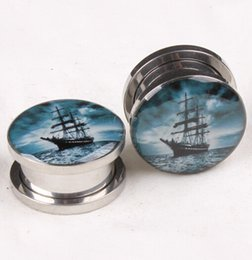 Wholesale 5mm Plugs Tunnels - 5mm-16mm High Quality Stainless Steel Oil Drop Sailboat Ear Plug Tunnel Jewelry Screw Ear Gauges Expander Piercing Body Stud Earrings