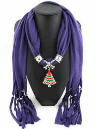 Wholesale Tree Scarf Pendant - Fashion Women Necklace Scarf Direct Factory Ladies Pendant Jewelry Scarves Tassel Necklace Enamel Alloy Christmas Trees Scarf