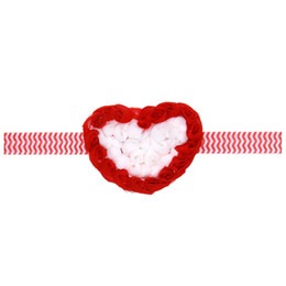 Wholesale Valentine Craft Wholesale - chevron Hand Crafted red and White Shabby Heart Headband - Valentines Headband - white Heart Newborn red and White Baby Headband