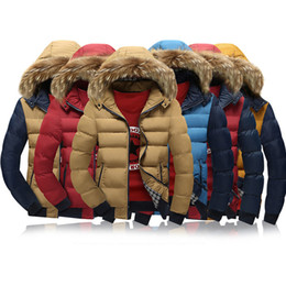 Wholesale Jacket Dark Red Man - Down Parkas Hooded Mens Winter Jacket Fur Collar Snow Coat Thick Warm Overcoat Patchwork Cotton Padded Winter Clothing Cheapest