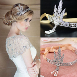 Wholesale Great Accessories - Charming Bridal Headbands Great Gatsby Style Silver Clear Rhinestone Hair Accessories Boho Bridal Headpieces Bridal Hair Decoration Big Sale