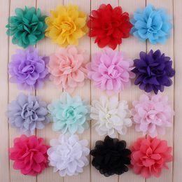 2019 petali di fiori di colore 120 Pz / lotto 16 Colore Chiffon Fiori Di Seta Per Le Ragazze Accessori Per Capelli Morbido Petalo Peonia Tessuto Fiori Per Fasce copricapo copricapo sconti petali di fiori di colore