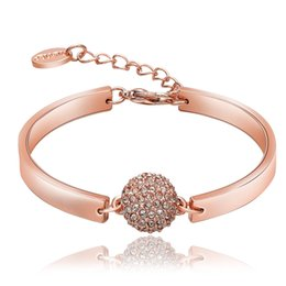 Wholesale Ladies White Gold Bangle - Luxury 18k Gold Rose Gold Plated Bangle Bracelet for Women Ladies Shining Rhinestone Crystal Jewelry Beads Charms Romantic Wedding Jewelry