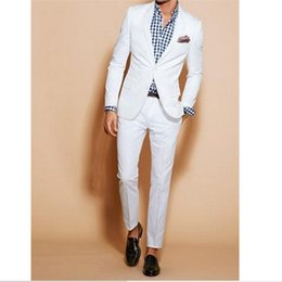 Wholesale made order suit - Wholesale- White wedding  dress the groom, holds the two sets of male suit fashion (coat + trousers) custom make to order