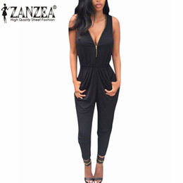Wholesale Womens Summer Trousers - Wholesale-New 2016 ZANZEA Summer Rompers Womens Jumpsuit Sexy V Neck Sleeveless Playsuit Bodycon Casual Bodysuit Long Trousers Plus Size