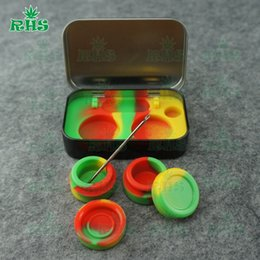 Wholesale Butane Kit - Silicone Dab BHO Wax Jar Container Mat Pad Jar Nonstick Butane Honey Oil Kit Dabber Slick Sticky tin jar box Rubber S-03