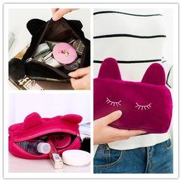 Wholesale Womens Cosmetic Makeup Bag Organizer - Womens Casual Travel Bag Handbag Cute Cartoon Cat Coin Storage Makeup Bag Cosmetic Make Up Bag Case Organizer Free DHL Shipping