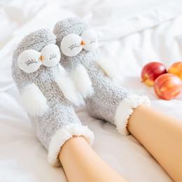 Wholesale Owl Warmer - Solid Warm Rabbit Owl Cartoon Women Socks Coral Velvet Thicken Japanese Sweet Floor Sleeping Female Socks Winter Christmas Socks Gift