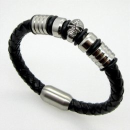 Wholesale Food Colouring Colours - 21.5cm Men Jewelry Pirate Style Silver Genuine Leather Skull Bracelets Magnet Wholesale Cuff Braided Wrap Black & Brown Colour