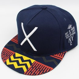 Wholesale Snapback Embroidery Nyc - New Arrival Blue Fashion Baseball Snapback Hats Caps for Men Cool Cotton Adjustable Sport Hip Hop Cap NYC X Letter Embroidery