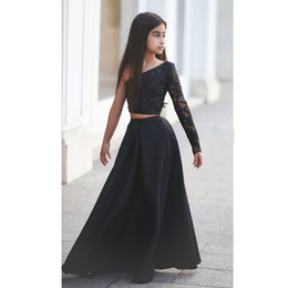 Wholesale Pageant Piece Dresses Girls - One shoulder 2 piece black beaded A line floor length girls pageant dresses glitz kids formal toddler for little girls glitz cupcake