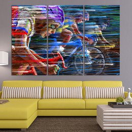 Wholesale abstract sports wall art painting - Bicycle Sport Race Multicolor Abstract Characters Canvas Oil Painting Modern Wall Stickers Picture Art Wall Decoration (no frame )