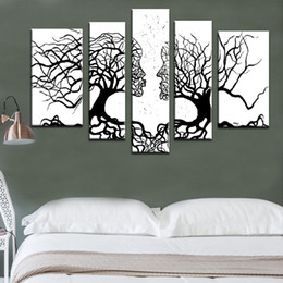 Wholesale Wall Art Oil Tree - 100%Hand-painted wall art Home decoration White and black Tree Modern abstract 5 piece oil painting on the canvas for living room
