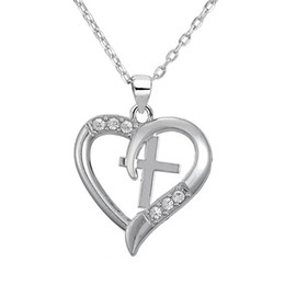 Wholesale- my shape Silver Plated Christian Cross Heart Pendant I Love Jesus Necklace Beautiful Christmas Gift for Girl Teen Woman Coupon