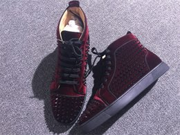 Wholesale High Sole Sneakers - High Top Men's Spikes Red Bottom Loubs Sneakers Flat High Qulaity Outdoor Red Sole Casual Shoes Women Party Wedding With Boxes Dust Bag