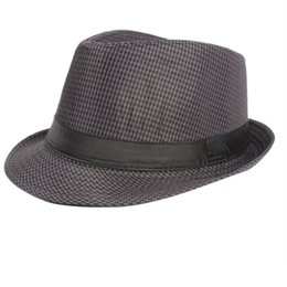Wholesale Pink Trilby Hat - Wholesale-Summer Women Men Wide Brim Sun Hats Fedora Panama Trilby Straw Hat Sun Beach Cap Travel Sunhat Black 58