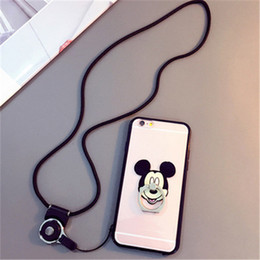Wholesale Wholesale Designer Cell Phone Cases - Designer Style Cell Phone Cases Micky Hello Kitty Kickstand Phone Covers with 40 cm Ropes for Samsung S6 S7 A8 25