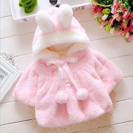 Wholesale Girls Fur Hooded Poncho - Baby Infant Girls Fur Winter Warm Coat Cloak Jacket Thick Warm Clothes Baby Girl Cute Hooded Long Sleeve Coats A08