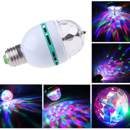 Wholesale holiday auto - LED Bulbs Full Color 3W RGB E27 LED Crystal Stage light Auto Rotating lamp AC85-265V Laser Disco DJ Party Holiday Dance bulb