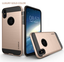 Wholesale Plastic Draws - V-ERUS Wire Drawing TPU+PC Hybrid Case Armband Stand Holder Cover Armor Cases For iPhone X 7 6 Plus Samsung Note S8 Note 8