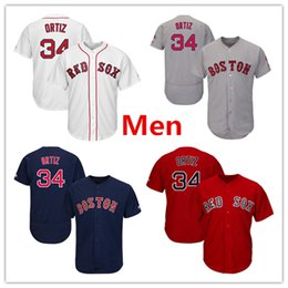 Wholesale M Sox - Mens Red Sox 34 David Ortiz Baseball Jersey Red White Gray Navy