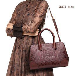 Cuir femme chinoise en Ligne-Femmes en cuir sacs à main de haute qualité véritable vache véritable en cuir sacs 2017 nouveau style chinois floral sac à bandoulière casual sac en toile