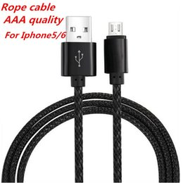 Wholesale Iphone5 Sync Cables - Rope Micro USB Cable for Iphone5 6 Cord Adapter for smartphone Sync Charge universal smartphone DHL