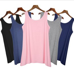 Wholesale Womens Vest Brown - New Summer Women's Tank Tops Solid Color Casual Fitness Top Vest Ladies Bamboo cotton sport Vest Tshirt Womens 12 Color