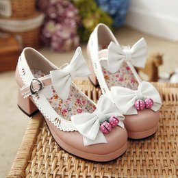 Wholesale Japanese Doll Sweet - The spring and autumn shoes with thick head with wind, doll shoes Japanese sweet bowknot little fresh obediently shoes