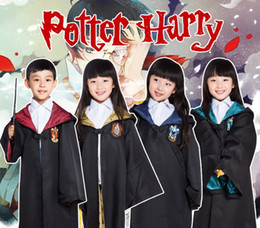 Wholesale Kids Costume Capes - Free Shipping 4 styles Harry Potter Kids Cosplay Cloak Robe Cape Halloween Gift Cosplay Costume for children
