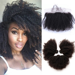 Wholesale Mongolian Kinky Curly Hair 4pcs - 9A Mongolian Human Hair With Lace Frontal 13*4 Afro Kinky Curly Ear To Ear Full Lace Frontals Closures With Bundles 4pcs lot
