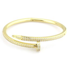 Wholesale Nail Bracelet Diamonds - Top Quality 316L Titanium steel nails bracelet with diamonds Shiny lovers Bangles Size for Women and man jewelry Free Shipping PS5388