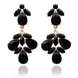 Wholesale Evening Jewelery - Fashion On Sale Black Evening Fine Jewelery Summer style Crystal Gold Dangle Earrings for women