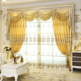 Wholesale Embroidered Tulle Curtains - Embroidered Luxury Window Curtain For Living Room  Bedrooms   Hotel Customized Golden Curtains+Tulle Home Furnishing   Treatment