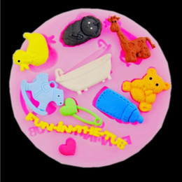 Wholesale Soap Mold Bear - nursing bottle horse deer bear baby silicone mold soap fondant molds sugar craft tools chocolate mould moulds for cakes TY1903