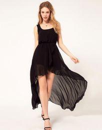 Wholesale Wholesales Midi Dresses - Chiffon Women Dress Sexy Irregular Dresses Plus Size Fashion Black Dovetail Mixi Dress Round Neck Vest Beach Long Dress
