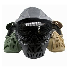 Wholesale Paintball Mesh Mask - Outdoor Tactical Full Face Protective Mask CS Protective Iron Mesh Goggles Paintball Equipment