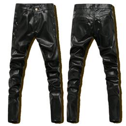 Pantalon de jogging en cuir pu en Ligne-Gros-Hip Hop Hommes Pantalon En Cuir Noir Faux En Cuir Skinny PU Pantalon Hommes Sports De Plein Air D'hiver Harem Jogger Pant Nouveau 2016