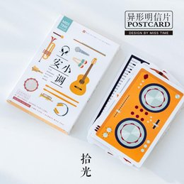 Wholesale Musical Greeting - 30 pcs pack Good Morning Musical Instruments Greeting Post Birthday Letter Envelope Gift Set Message Card