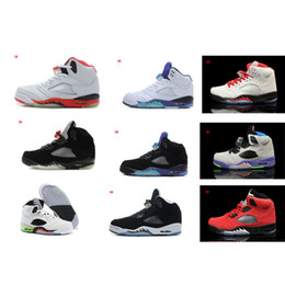 Wholesale Reflective Fire - Air Retro 5 Basketball Shoes For Men White Fire Red Black Grape OG Black Metallic Silver Oreo Infrared 23 3M 5S Reflective Classic Sneakers